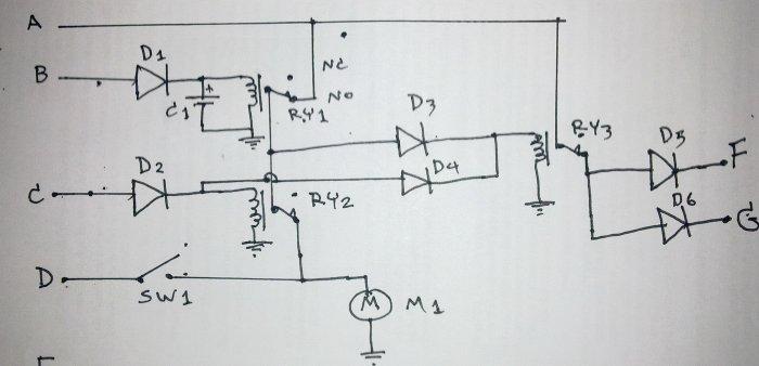 อุปกรณ์ 1.D1,D2,D3,D4=ไดโอดเบอร์ 1N4001 2.D5,D6=ไดโอดเบอร์ 5402 3.C1=คอนเดนเซอร์ค่า 3300uF/35V. 4.RY1,RY2,RY3=รีเลย์ 5 ขา 12 V. 5.Sw1=สวิทซ์กดติดปล่อยดับ(สำหรับกดเปิดฝาท้ายจากด้านหน้า) 6.M=ปืนเซ็นทรัลล็อก จุดต่อสายไฟ A=ไฟบวกจากแบตเตอรืรี B=สายปลดล็อดจากกล