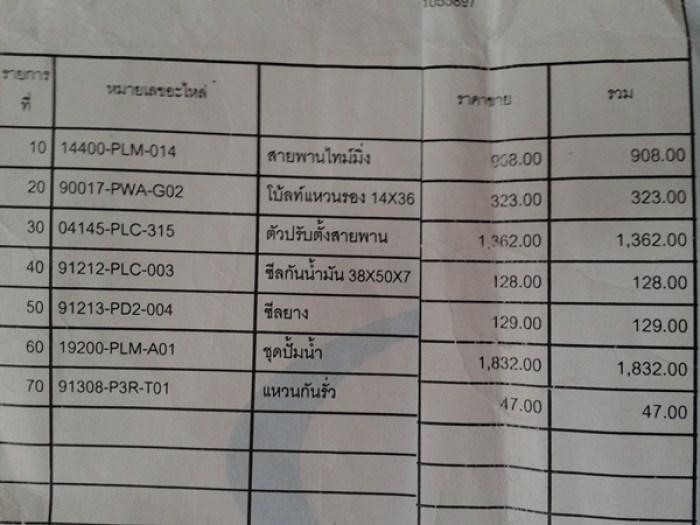 ราคาประเมิณ ไม่รวมค่าแรง ไม่รวม vat  จากศุนย์ honda นนทบุรี