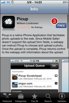 หน้าจอจะเปลี่ยนมาที่ App Store โปรแกรม picup ฟรีครับ  กดที่ FREE > Install ครับผม รอติดตั้งโปรแกรมจนเสร็จ...