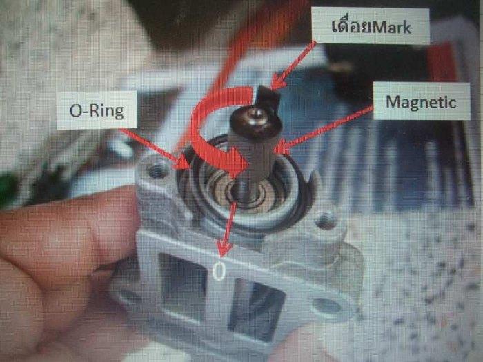 15.ใส่O-Ring หมุนเดื่อยมาร์คมาให้ตรงตำแหน่งศูนย์(0)ที่ทำสัญลักษณ์ไว้