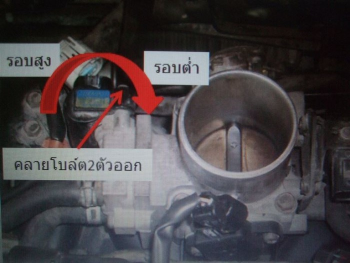 หมุนตัวเรือนIACV Sensor ไปทางขวา รอบจะต่ำ หมุนตัวเรือนIACV Sensor ไปทางซ้าย รอบจะสูง